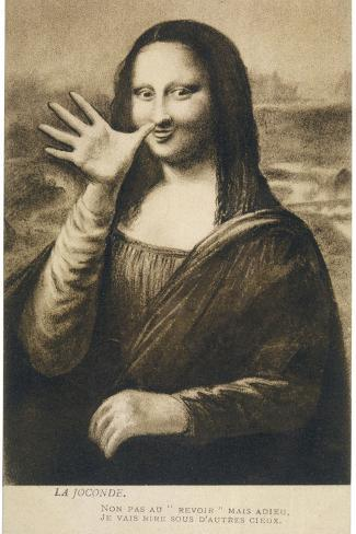 The Mona Lisa Says Goodbye When the Painting is Stolen from the Louvre Paris--Stretched Canvas Print