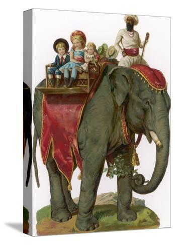 Some Children Take a Ride on an Elephant--Stretched Canvas Print
