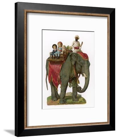 Some Children Take a Ride on an Elephant--Framed Art Print