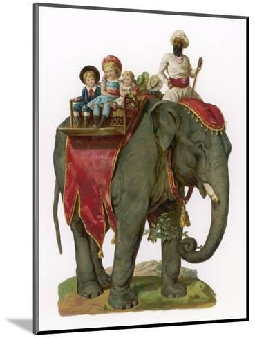 Some Children Take a Ride on an Elephant--Mounted Giclee Print