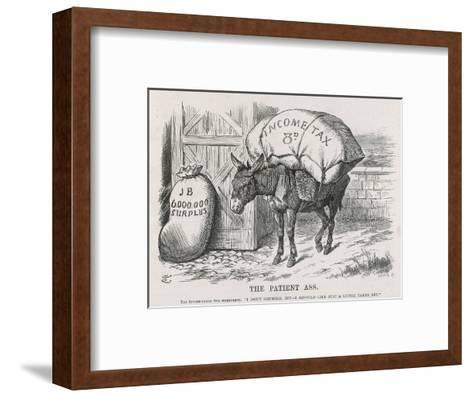 The British Taxpayer, The Patient Donkey, Groans Beneath the Weight of Income Tax-John Tenniel-Framed Art Print