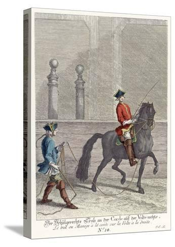Haute Ecole: Trotting the Horse in a Circle by Means of a Cord Attached to the Bridle--Stretched Canvas Print