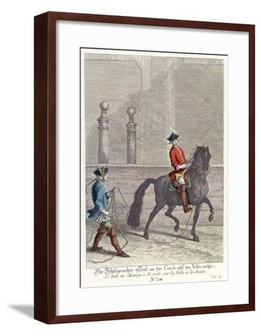 Haute Ecole: Trotting the Horse in a Circle by Means of a Cord Attached to the Bridle--Framed Art Print