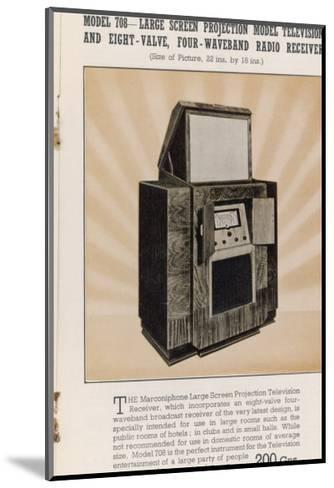 Marconi's Large Screen Projection Model Has So Big a Picture--Mounted Giclee Print