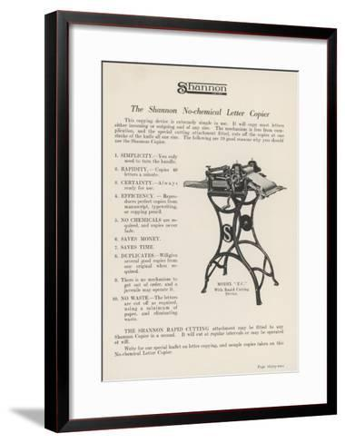 The Shannon No-Chemical Letter Copier Copies at the Fantastic Rate of Forty Letters a Minute--Framed Art Print