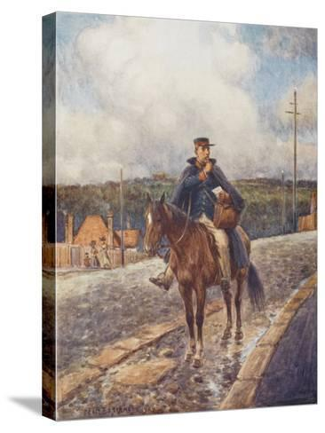 Mounted Postman in the Australian Outback-Percy F^s^ Spence-Stretched Canvas Print