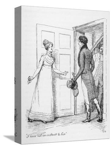 """I Have Not an Instant to Lose"" Says Elizabeth Bennet to Mr. Darcy-Hugh Thomson-Stretched Canvas Print"