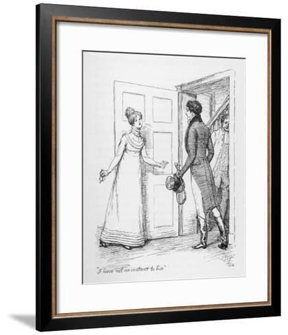 """I Have Not an Instant to Lose"" Says Elizabeth Bennet to Mr. Darcy-Hugh Thomson-Framed Art Print"