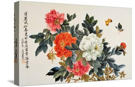 Peonies and Butterflies-Lu Bisa-Stretched Canvas Print