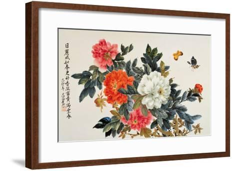 Peonies and Butterflies-Lu Bisa-Framed Art Print