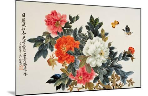 Peonies and Butterflies-Lu Bisa-Mounted Giclee Print