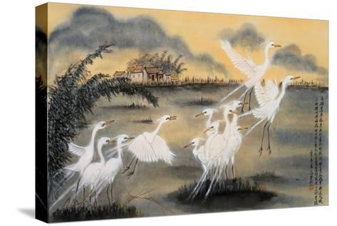 Lifting Egrets-Lu Bisa-Stretched Canvas Print