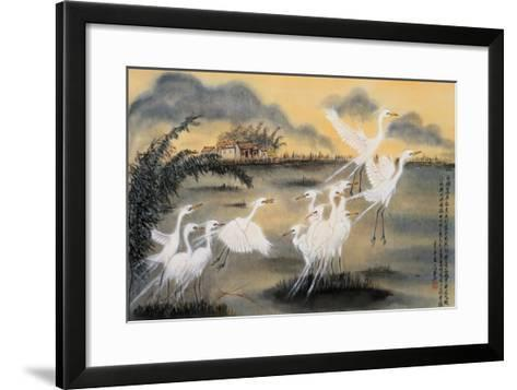 Lifting Egrets-Lu Bisa-Framed Art Print