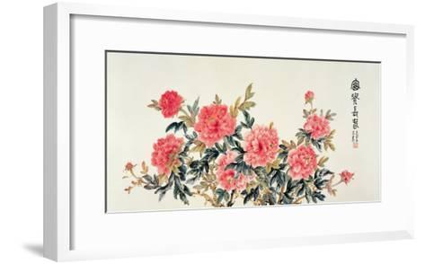 Scarlet Peonies-Lu Bisa-Framed Art Print