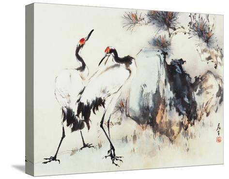 Cranes Symbolize Longevity-Wong Luisang-Stretched Canvas Print