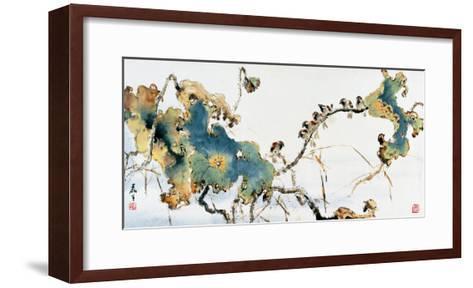 Lotus Pond in Autumn-Wong Luisang-Framed Art Print