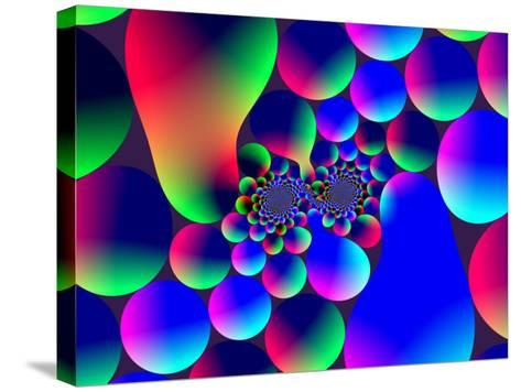 Multi-Coloured Abstract Fractal Pattern with Circular Shapes and Blobs-Albert Klein-Stretched Canvas Print