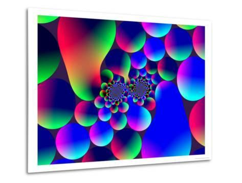 Multi-Coloured Abstract Fractal Pattern with Circular Shapes and Blobs-Albert Klein-Metal Print