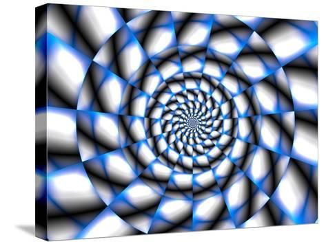 Abstract Blue and White Spiral Design-Albert Klein-Stretched Canvas Print