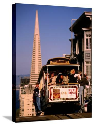 Cable Car on Nob Hill with Transamerica Building in Background, San Francisco, U.S.A.-Thomas Winz-Stretched Canvas Print