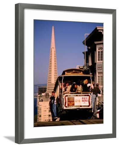 Cable Car on Nob Hill with Transamerica Building in Background, San Francisco, U.S.A.-Thomas Winz-Framed Art Print