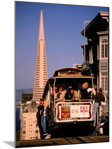 Cable Car on Nob Hill with Transamerica Building in Background, San Francisco, U.S.A.-Thomas Winz-Mounted Photographic Print