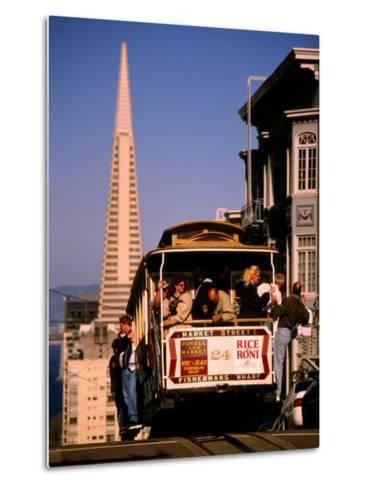 Cable Car on Nob Hill with Transamerica Building in Background, San Francisco, U.S.A.-Thomas Winz-Metal Print