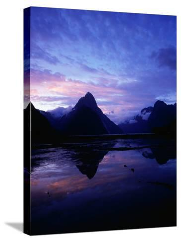 Twilight on Milford Sound, Fiordland National Park, New Zealand-David Wall-Stretched Canvas Print