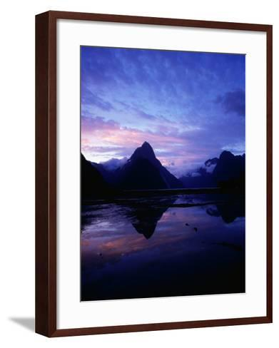 Twilight on Milford Sound, Fiordland National Park, New Zealand-David Wall-Framed Art Print