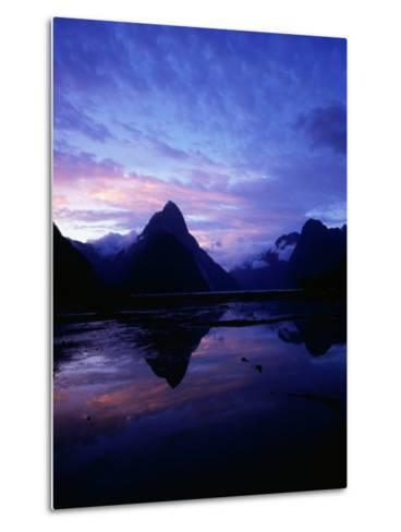 Twilight on Milford Sound, Fiordland National Park, New Zealand-David Wall-Metal Print