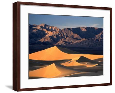 Sand Dunes and Mountain Range, Death Valley National Park, California, USA-Mark Newman-Framed Art Print