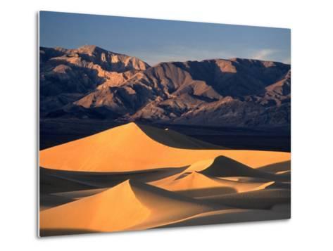 Sand Dunes and Mountain Range, Death Valley National Park, California, USA-Mark Newman-Metal Print