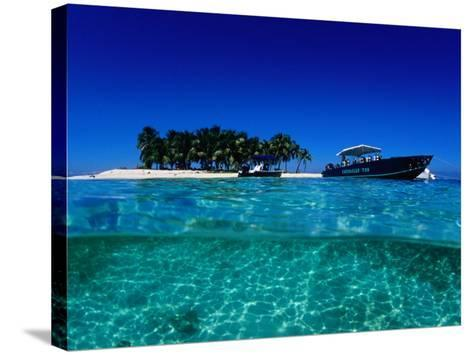 Dive Boats off Island, South Water Caye, Stann Creek, Belize-Mark Webster-Stretched Canvas Print