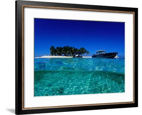 Dive Boats off Island, South Water Caye, Stann Creek, Belize-Mark Webster-Framed Art Print