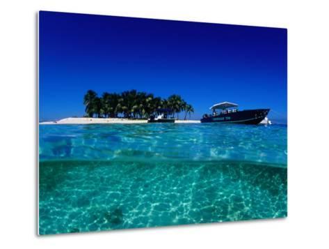 Dive Boats off Island, South Water Caye, Stann Creek, Belize-Mark Webster-Metal Print