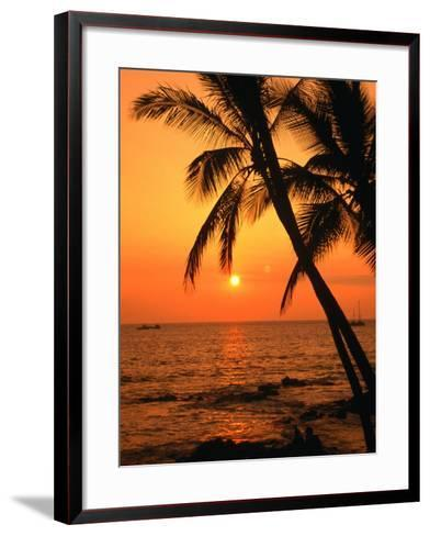 A Couple in Silhouette, Enjoying a Romantic Sunset Beneath the Palm Trees in Kailua-Kona, Hawaii-Ann Cecil-Framed Art Print