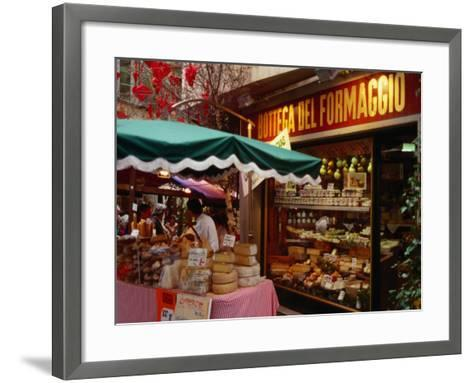 Cheese Stall Outside Cheese Shop on Via Pessina, Lugano, Ticino, Switzerland-Stephen Saks-Framed Art Print