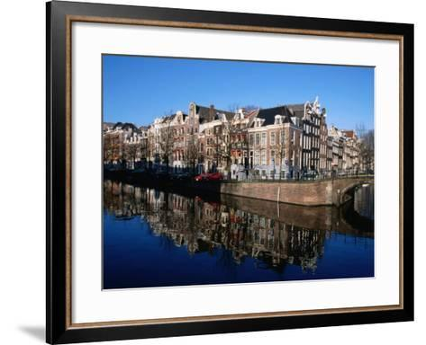Buildings along Keizersgracht Reflected in Canal, Southern Canal Belt, Amsterdam, Netherlands-Martin Moos-Framed Art Print