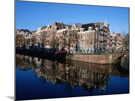 Buildings along Keizersgracht Reflected in Canal, Southern Canal Belt, Amsterdam, Netherlands-Martin Moos-Mounted Photographic Print