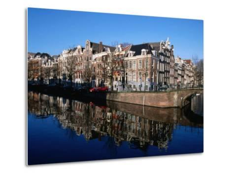 Buildings along Keizersgracht Reflected in Canal, Southern Canal Belt, Amsterdam, Netherlands-Martin Moos-Metal Print