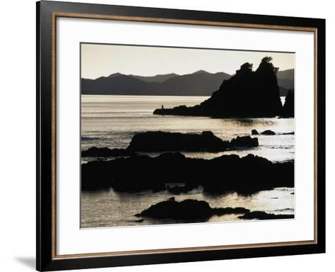 Lone Fisherman on Rocks at Sunrise in Russell, Bay of Islands, Northland, New Zealand-Stephen Saks-Framed Art Print