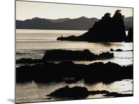 Lone Fisherman on Rocks at Sunrise in Russell, Bay of Islands, Northland, New Zealand-Stephen Saks-Mounted Photographic Print