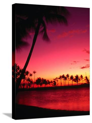 Sunset at Anaehoomalu Beach, Waikoloa, Hawaii, USA-Ann Cecil-Stretched Canvas Print