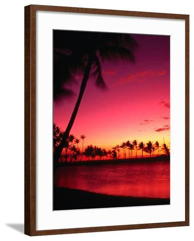 Sunset at Anaehoomalu Beach, Waikoloa, Hawaii, USA-Ann Cecil-Framed Art Print