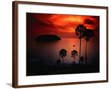 A Fiery Tropical Sunset at Prohmthep Cape, Phuket, Thailand-Anders Blomqvist-Framed Art Print