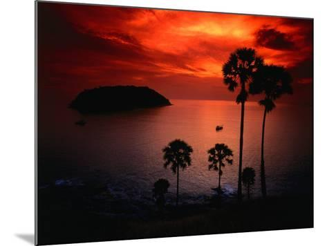 A Fiery Tropical Sunset at Prohmthep Cape, Phuket, Thailand-Anders Blomqvist-Mounted Photographic Print