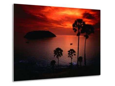 A Fiery Tropical Sunset at Prohmthep Cape, Phuket, Thailand-Anders Blomqvist-Metal Print
