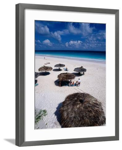 View of Famous Pink Sand Beach, Eleuthera, Pink Sands Beach, Harbour Island, Bahamas-Greg Johnston-Framed Art Print