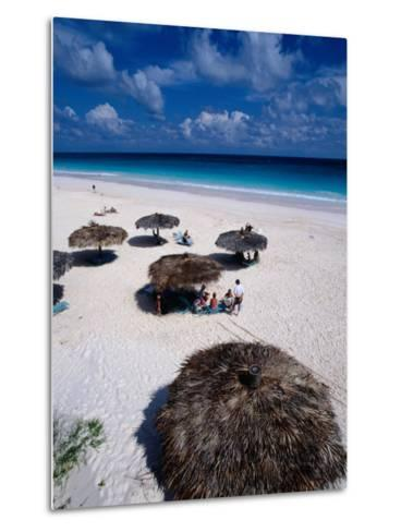 View of Famous Pink Sand Beach, Eleuthera, Pink Sands Beach, Harbour Island, Bahamas-Greg Johnston-Metal Print
