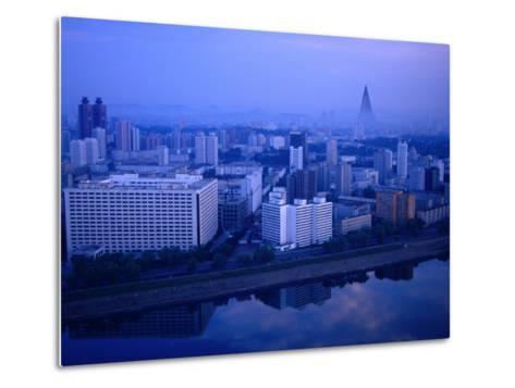 City Skyline from 17 Yanggakdo Hotel, P'Yongyang, North Korea-Tony Wheeler-Metal Print